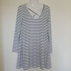 Shein Blue and White Striped Long Sleeve Dress